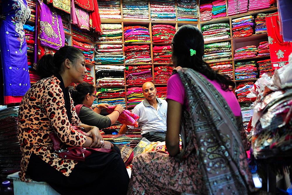 Women shopping at a fabric store, Indra Chowk market, Kathmandu, Nepal