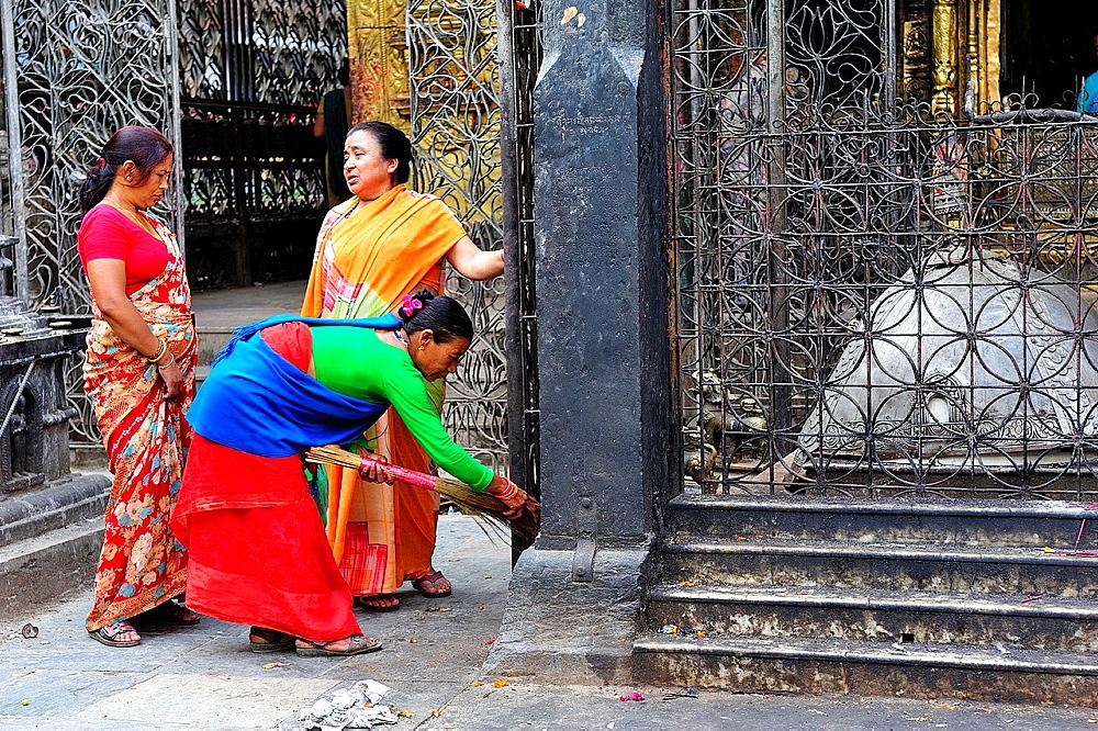 Women in Buddisth Sweta Machhendranath temple, Kathmandu, Nepal