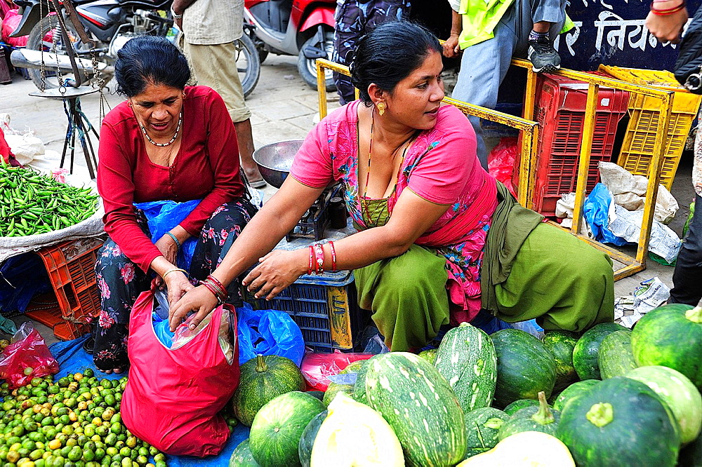 Women in the vegetable market, Kathmandu, Nepal