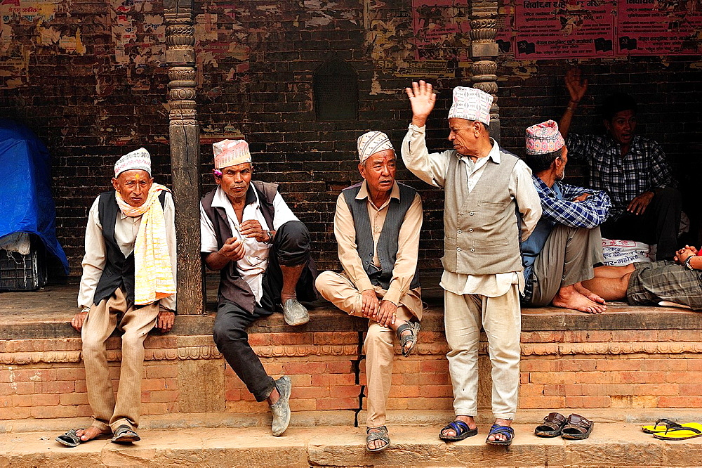 Men chatting, Bhaktapur, Nepal