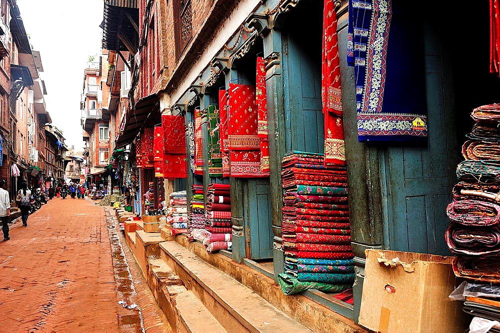 Fabric store on Downtown street, Bhaktapur, Nepal