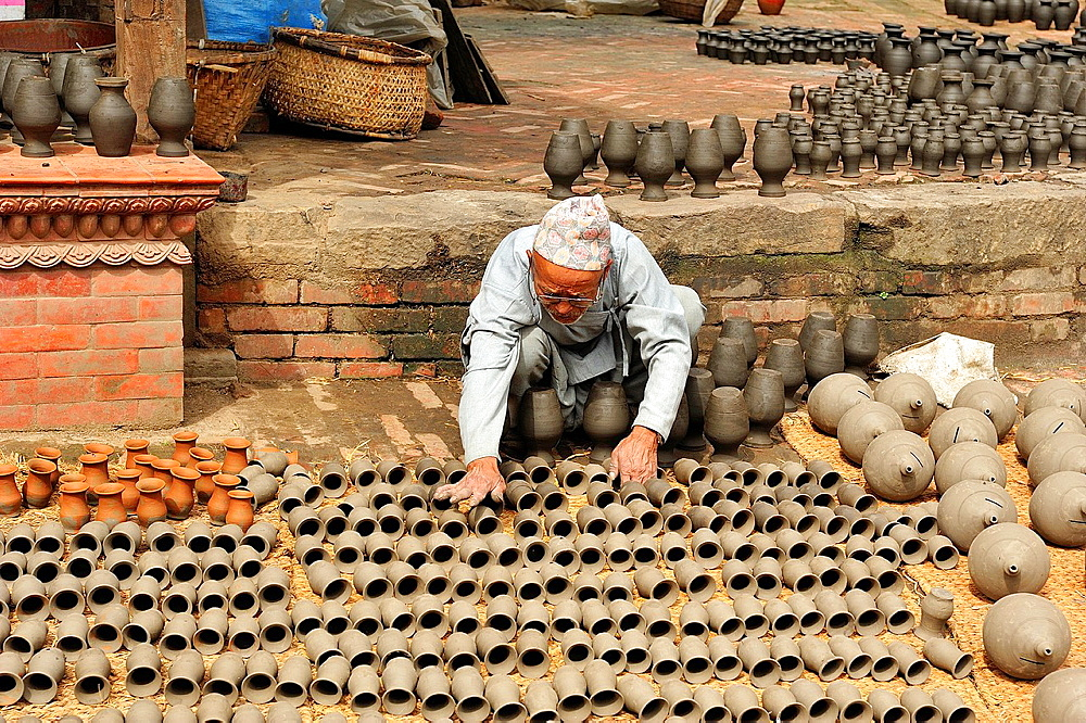 A pottery seller man, Bhaktapur, Nepal