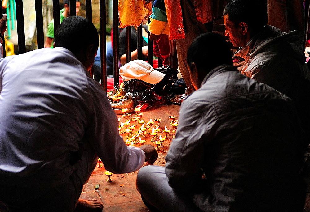 Hindus offering candles to goddes Kali at Dakshinkali Temple in Dhasain Festival, Kathmandu Valley, Nepal