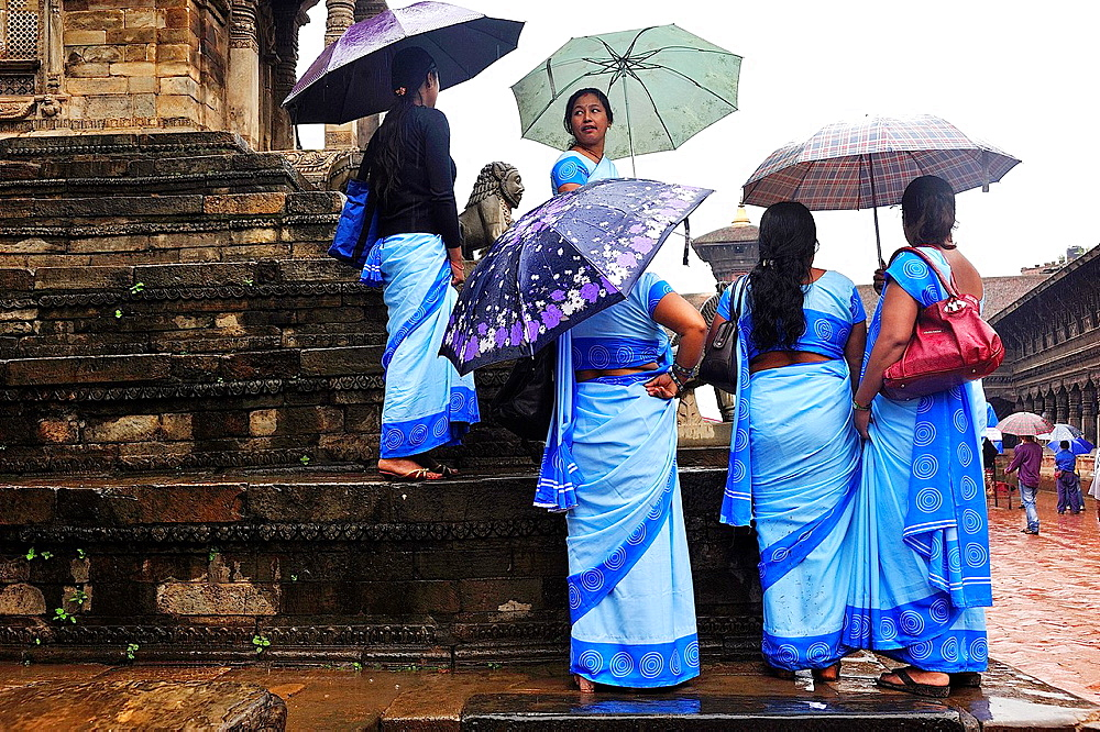 Women in blue sarees, Durbar Square, Bhaktapur, Nepal