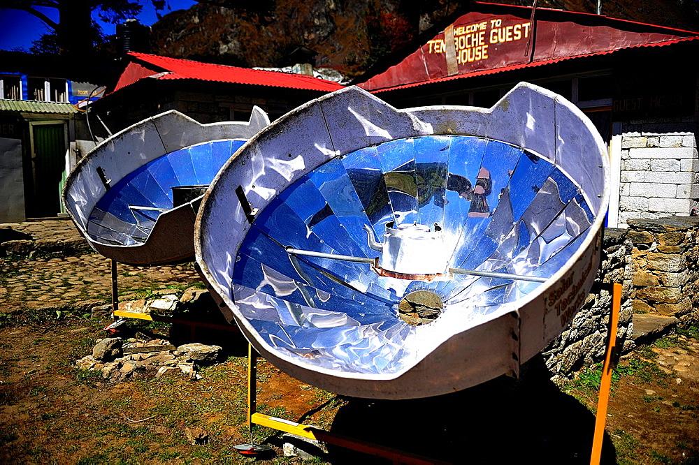 Solar ovens in Tengboche or Thyangboche Sagarmatha National Park, the Himalaya range, Khumbu area, Solukhumbu District, Sagarmatha Zone, Nepal
