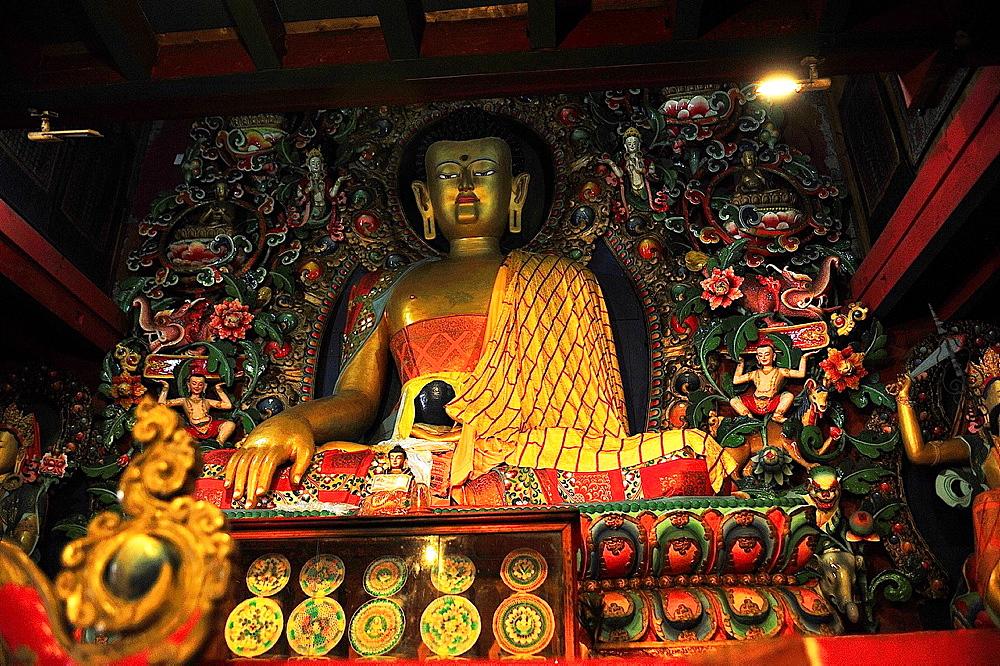 Buddha image on monastery of Tengboche or Thyangboche, the Himalaya range, Khumbu area, Solukhumbu District, Sagarmatha Zone, Nepal