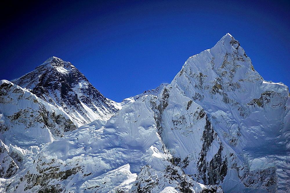 Mount Everest, 8.848 m. and Nuptse Peak -7.861 m.-, Sagarmatha National Park, the Himalaya range, Khumbu area, Solukhumbu District, Sagarmatha Zone, Nepal