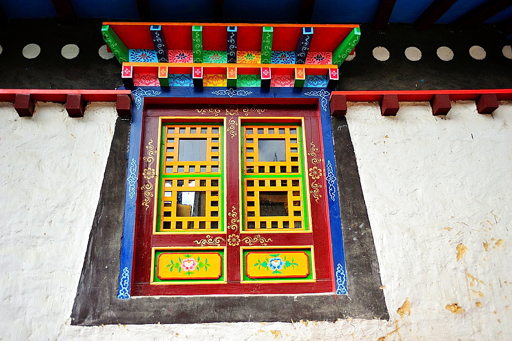 Window at Buddhist monastery of Pangboche, Sagarmatha National Park, the Himalaya range, Khumbu area, Solukhumbu District, Sagarmatha Zone, Nepal