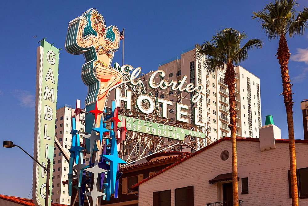 El Cortez Hotel on Fremont street in Downtown Las Vegas,Nevada,USA.