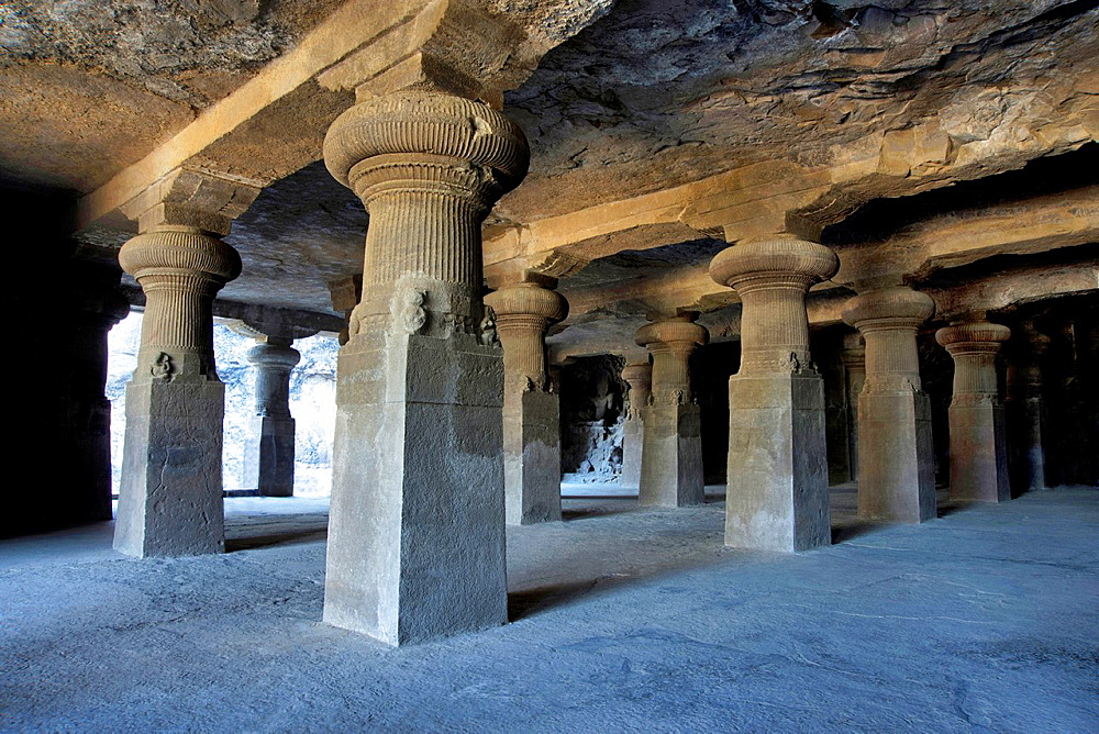 Cave 1 : Elephanta Caves. The Great Cave. Picture showing pillared hall. Circa 550 A.D. Maharashtra, India.