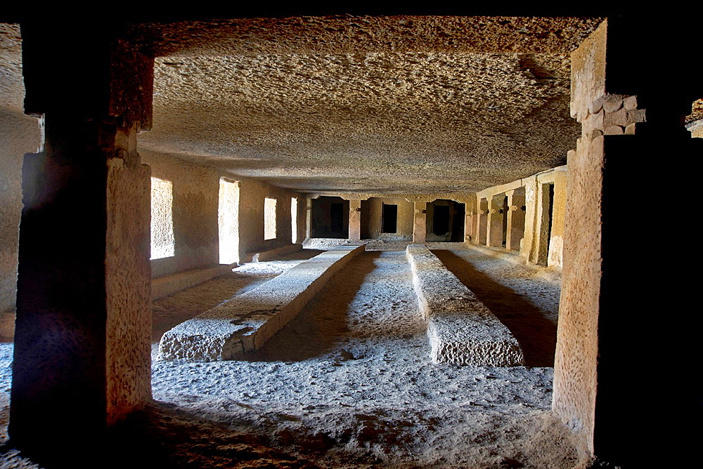 Cave 11 : Interior of hall. Kanheri Caves, Borivali, Mumbai, Maharashtra, India