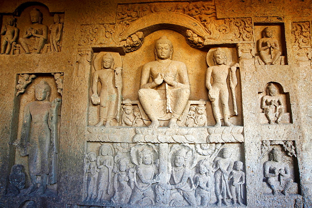 Buddha seated in teaching attitude. Kanheri Caves, Borivali, Mumbai, Maharashtra, India