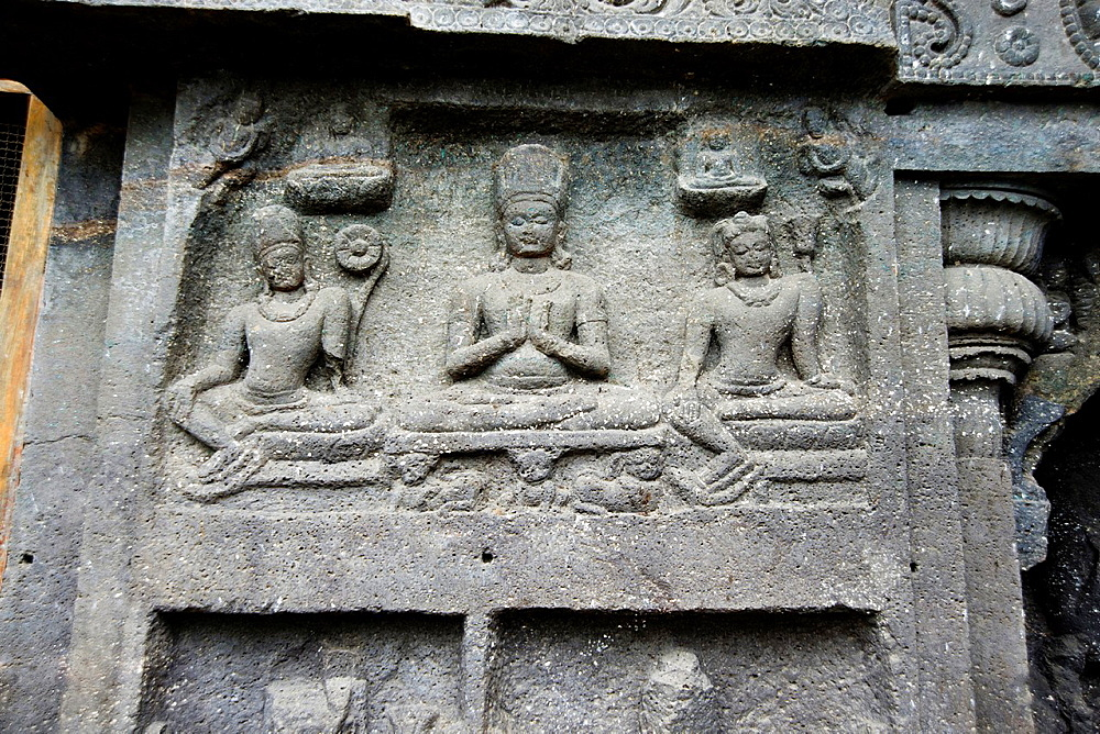 Cave No 10 Upper gallery shows panel of Bodhisattva with attendants. Ellora Caves, Aurangabad, Maharashtra India.
