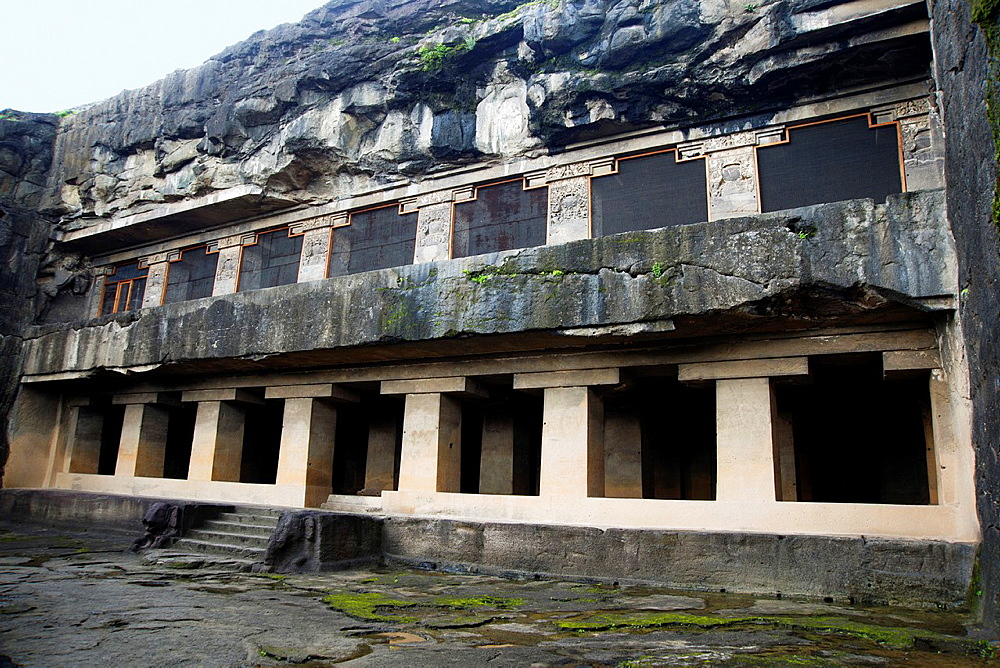 Cave 12, Teen Tal General-View of the facade from South-West. Ellora Caves, Aurangabad, Maharashtra India.