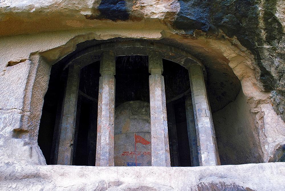 General view of the circular chaitya. View from East. Circa 2nd. Century A.D. Tulja rock-cut cave, Junnar, dist Pune, Maharashtra, India