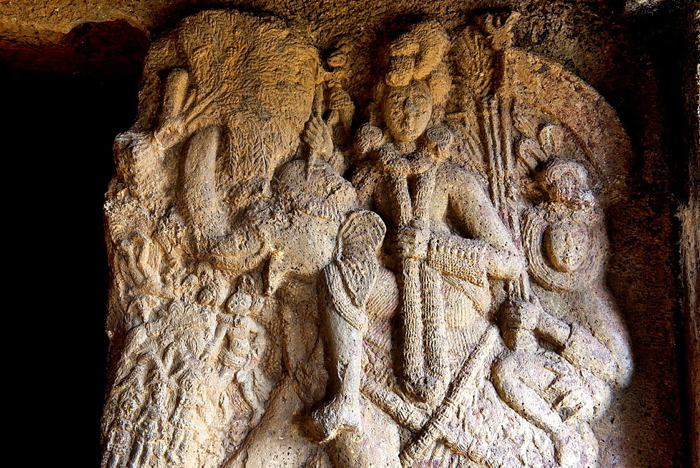 Image of Indra in the verandah of Vihara 20. circa 150 B.C. Closer view of the upper portion. Bhaja caves, Dist. Pune, Maharashtra.