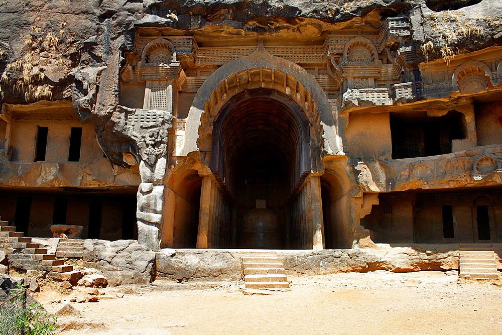 General view of the Chaitya and few viharas. Bhaja caves, Dist. Pune, Maharashtra India.