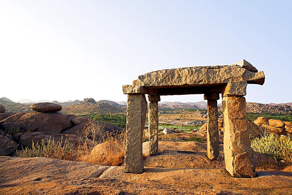 Sunset point landscape at Hampi, Karnataka. World heritage site India