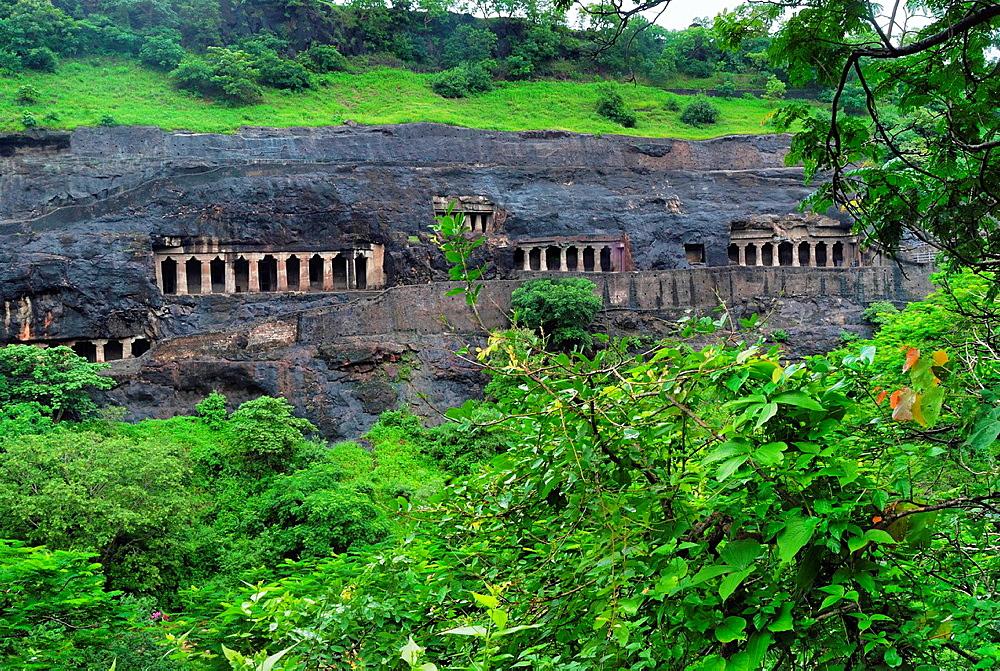 General-View from south. Cave Nos. 2 to 5. Viharas. Ajanta Caves, Aurangabad, Maharashtra, India.