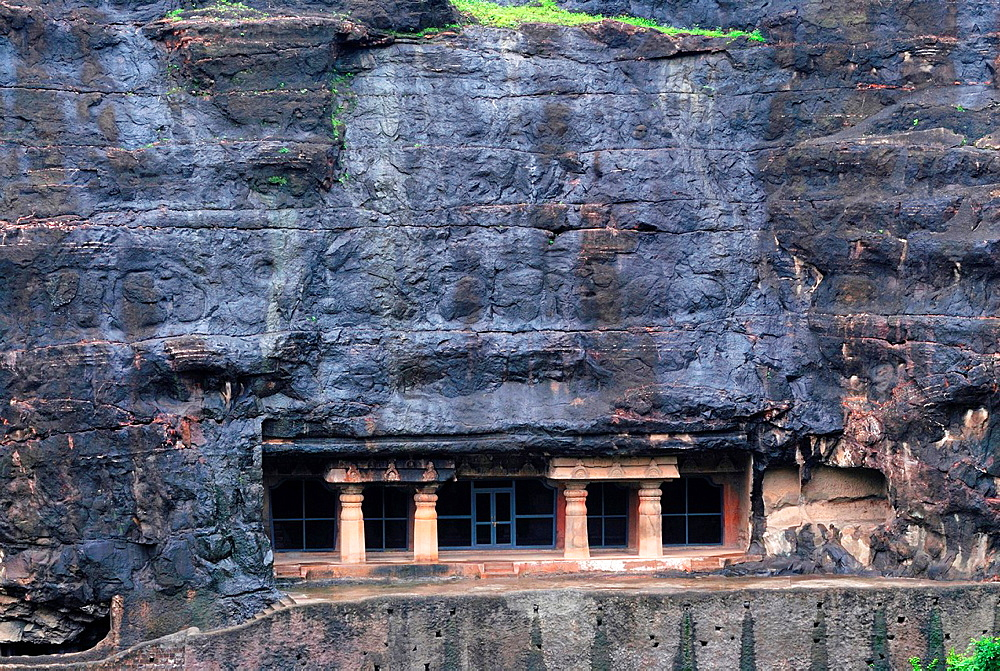 Cave 07: Long View Facade. Ajanta Caves, Aurangabad, Maharashtra, India.