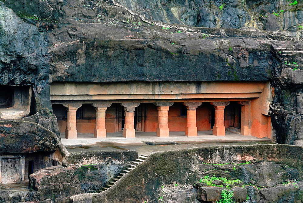 Cave 24: General View of facade showing pillars in the verandah. Ajanta Caves, Aurangabad, Maharashtra, India.