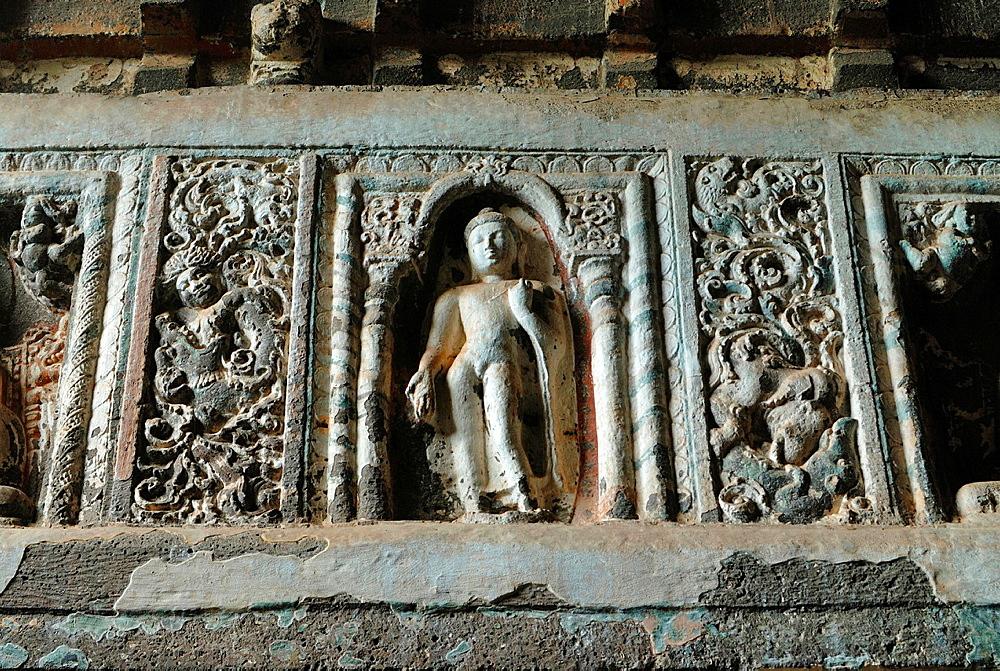 Cave 19: Buddha in different poses on pillars. Ajanta Caves, Aurangabad, Maharashtra, India.