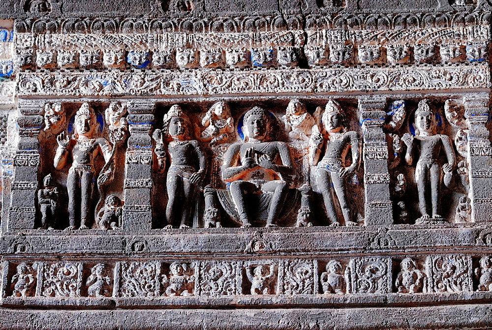 Cave 26: Frieze above pillars. Buddha images. Ajanta Caves, Aurangabad, Maharashtra, India.