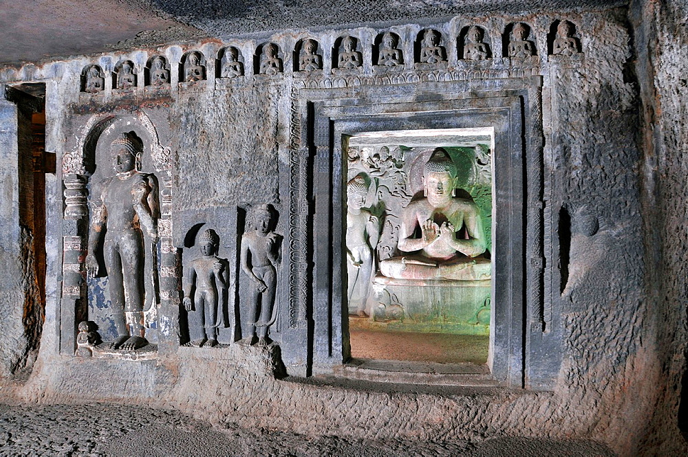 Cave 6 Upper : Buddha in Padmasana in shrine. Ajanta Caves, Aurangabad, Maharashtra, India.