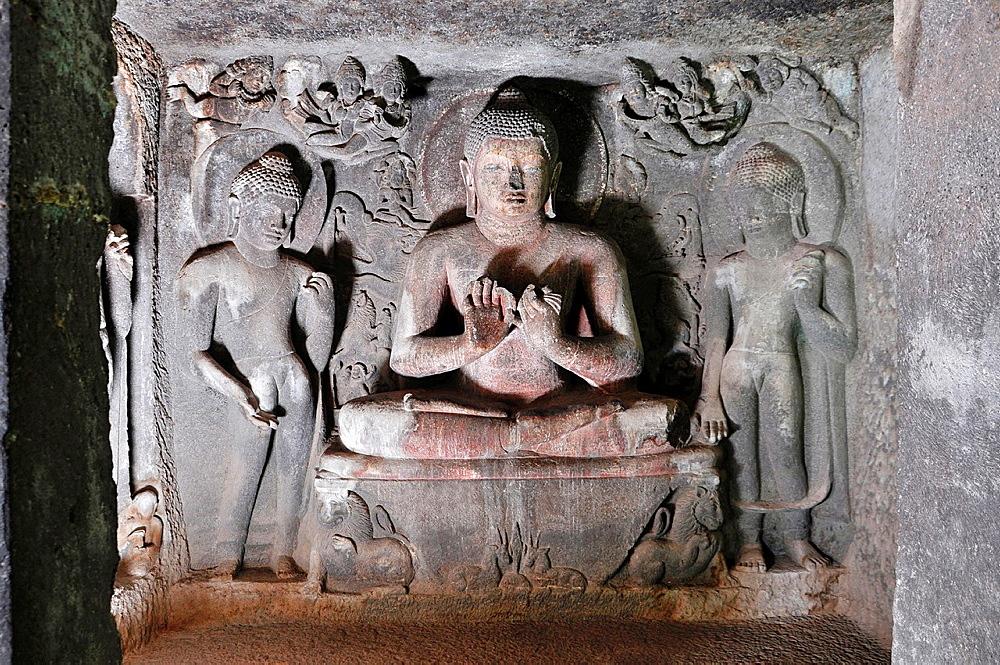 Cave No 6 Upper: Sanctum, Buddha in Teaching Pose. Ajanta Caves, Aurangabad, Maharashtra, India.