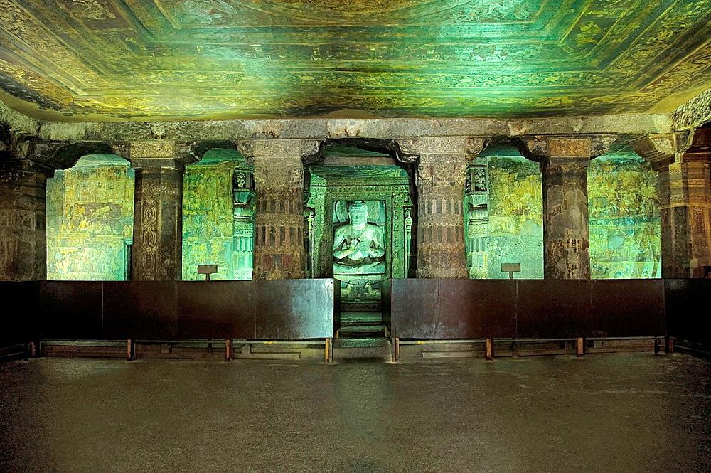 Cave 17: Sanctum- Buddha in Padmasana. Jakata Story Paintings are seen on both sides. Ajanta Caves, Aurangabad, Maharashtra, India.