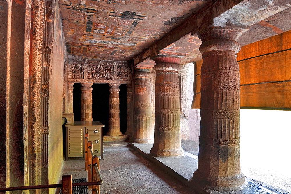 Cave 2: Porch showing pillars and verandah. Ajanta Caves, Aurangabad, Maharashtra, India.