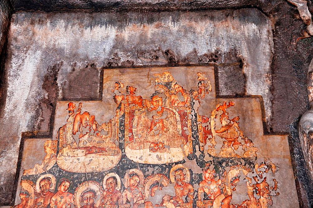 Cave 2 : Shrine. Painted buddha images in Padmasana with attendants. Ajanta Caves, Aurangabad, Maharashtra, India.