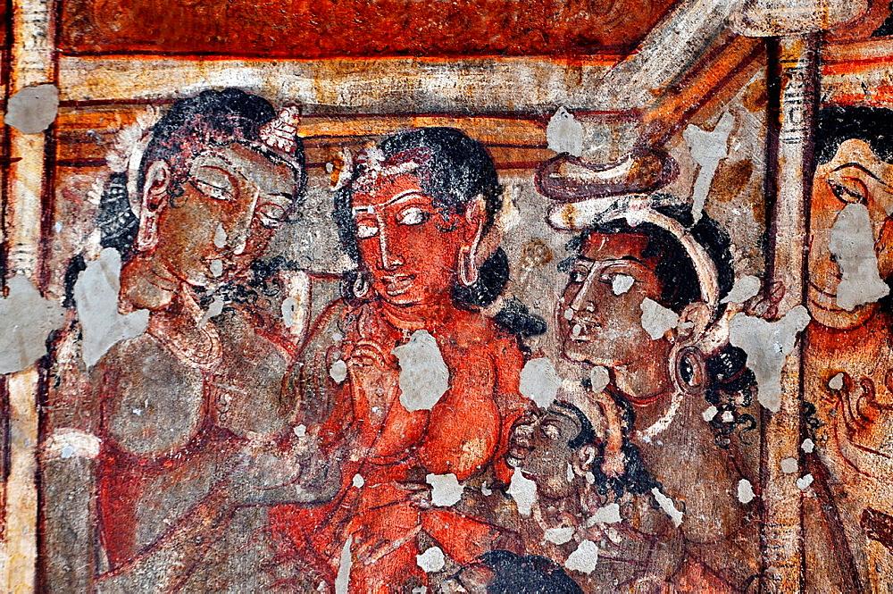 Cave 2: Interior: Painting of female figures. Ajanta Caves, Aurangabad, Maharashtra, India.