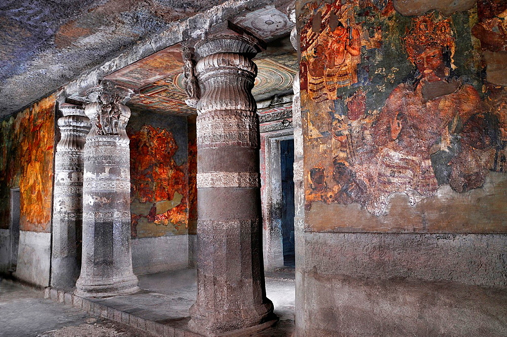 Cave 1: Bodhisattva Vajrapani. Rear wall, right of shrine antechamber. Ajanta Caves, Aurangabad, Maharashtra, India.