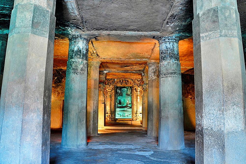 Cave No 6 Lower: Sanctum: Image of Buddha. Ajanta Caves, Aurangabad, Maharashtra, India.