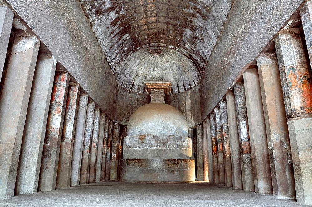 Cave 10: Globular Stupa on a cylindrical base. Chaitya or monastery. Ajanta Caves, Aurangabad, Maharashtra, India.