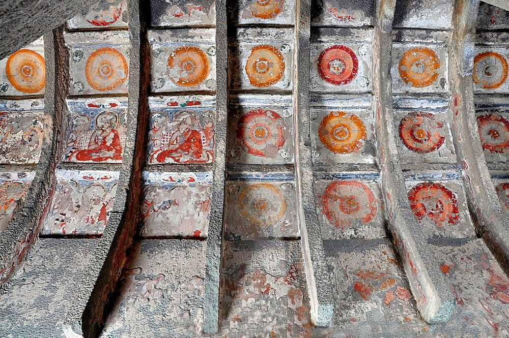 Cave 10: Paintings on Left Wall. Ajanta Caves, Aurangabad, Maharashtra, India.