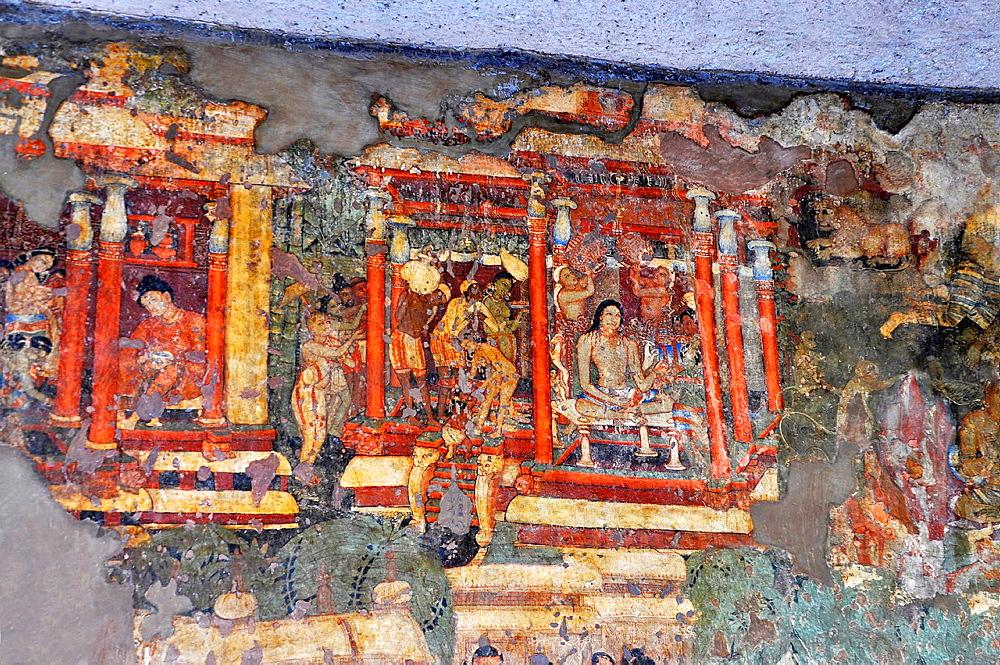 Cave 1 : Painting. Left rear wall: Mahasodha jataka. Frustration of prince with worldly life. Ajanta Caves, Aurangabad, Maharashtra, India.