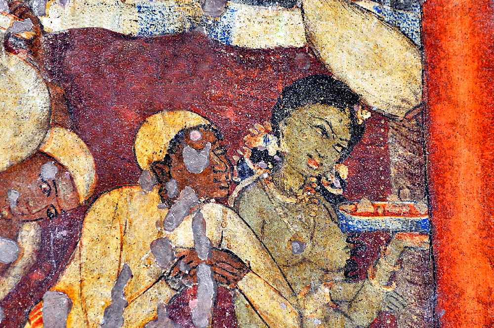 Cave 1 : Painting. Offerings to the ascetic and paying obeisance to him by several females. Ajanta Caves, Aurangabad, India.