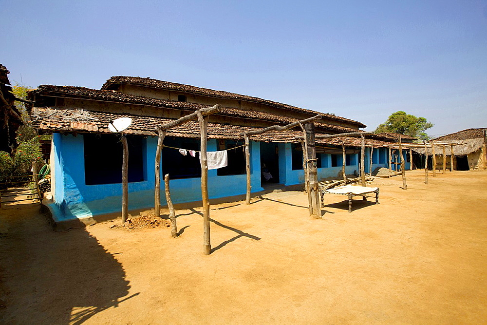 Typical mud hut, Gond tribe, Gadchiroli, Maharashtra, India.