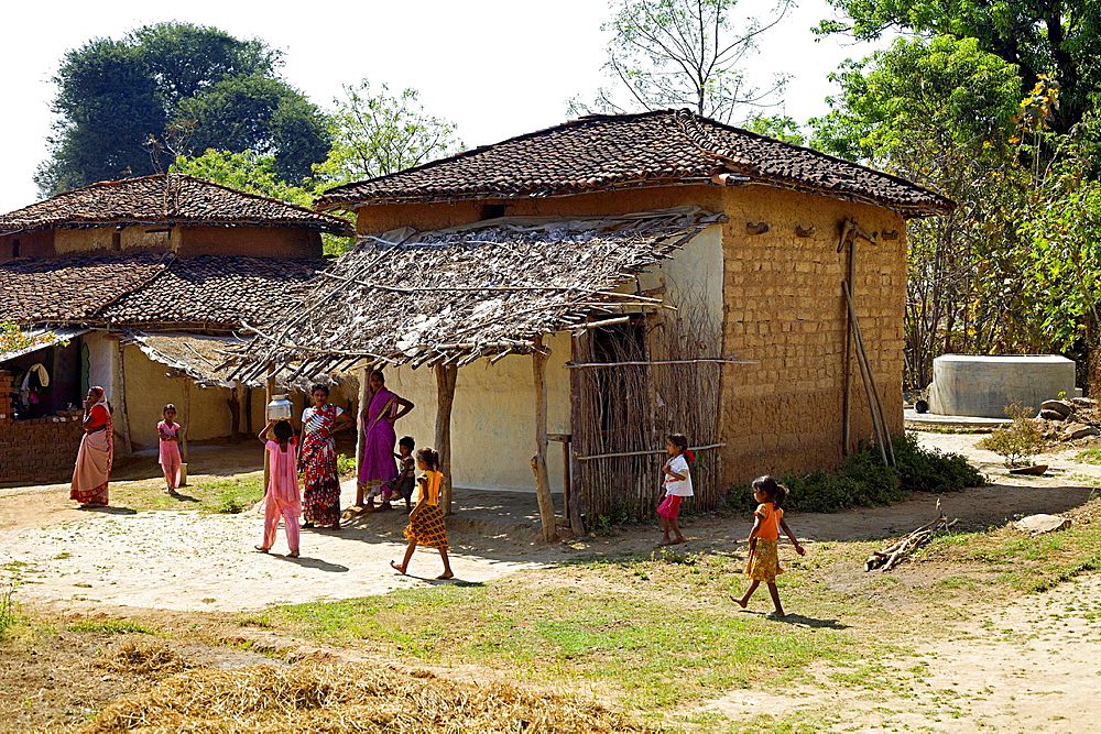 Village settlement houses, Gond tribe, Gadchiroli, Maharashtra, India.