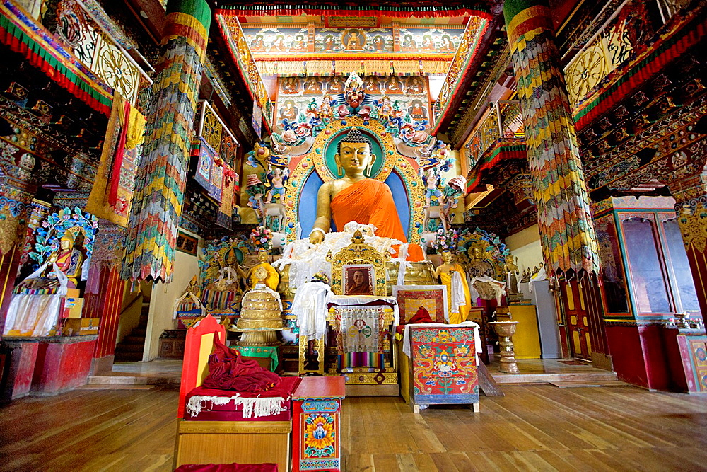 Buddha statue in main assembly hall, Tawang Monastery.
