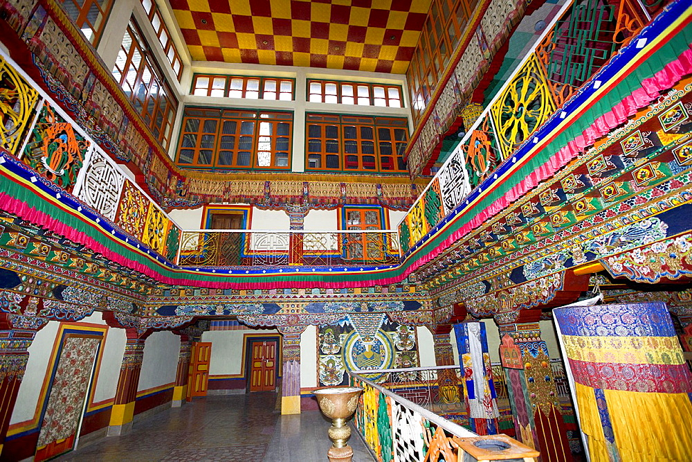 Bird's eyeview of monastery Tawang, Arunachal Pradesh, India.