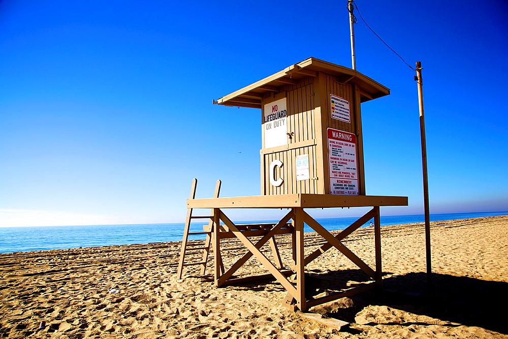 Lifeguard cabin in Newport Beach, California.