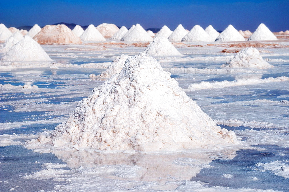 Salt mounds extracted from salt plains, Salar de Uyuni, Colchani, Bolivia, South America.