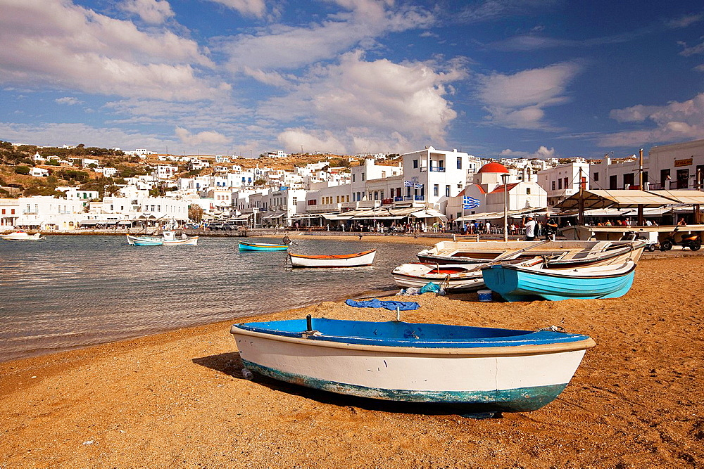 Fishing boats inside the harbour, Mykonos, Cyclades Islands, Greek Islands, Greece, Europe.