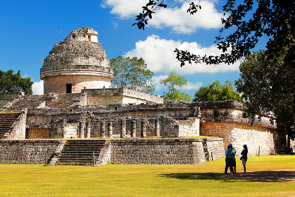 El Caracol, The Observatory Temple in prehispanic Mayan city of Chichen Itza Archaeological Site, Yucatan Province, Mexico, North America.