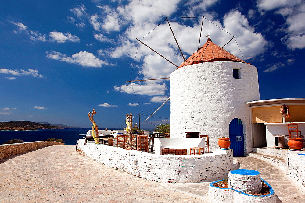 Windmill on the hill near the town center, Chora, Koufonissi, Cyclades Islands, Greek Islands, Greece, Europe.