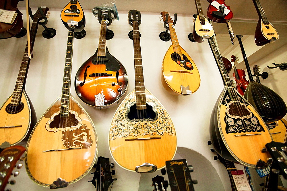 Musical instruments in shop at the town center, Little Venice, Mykonos, Cyclades Islands, Greek Islands, Greece, Europe.