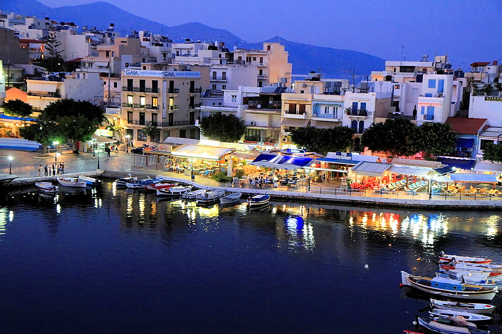 Agios Nikolaos port at night, Crete, Greece. - 817-471865